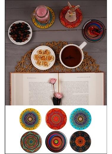 Kitchen Love 6 Lı Ahşap Otantik Desenli Bardak Altlığı-9,5Cm Renkli